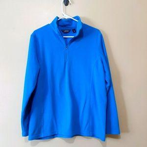 Land's End Blue Fleece Quarter Zip Sweater